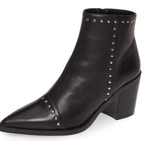 FSJ Block Low Mid Heels Ankle Boots Pointy Toe